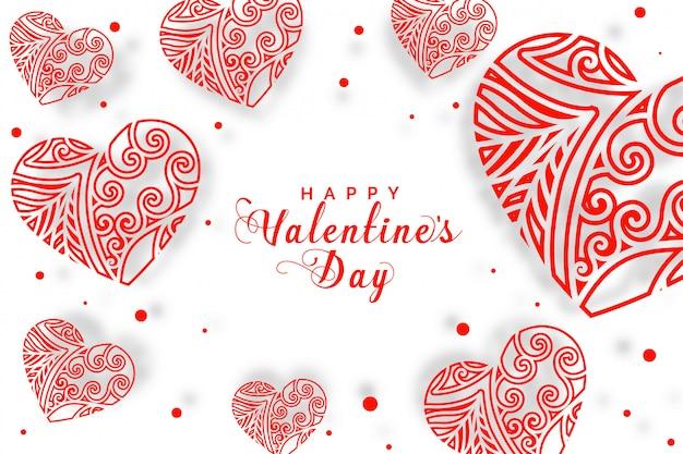 Decoratieve hartenachtergrond voor de groetkaart van de valentijnskaartendag