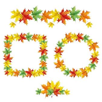 Decoratieve herfstframes, rand en rozet van gevallen esdoornbladeren.