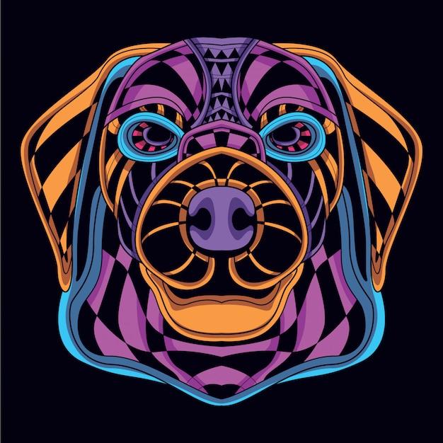 Decoratieve hondenkop van neonkleur