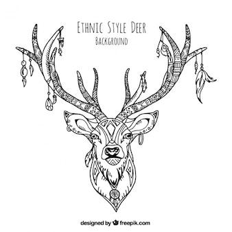 Decoratieve illustratie van de hand getekende etnische herten