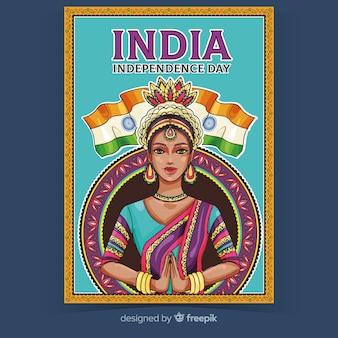 Decoratieve indiase dag van de onafhankelijkheid poster
