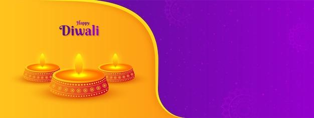 Decoratieve indiase festival gelukkige diwali-sjabloon voor spandoek