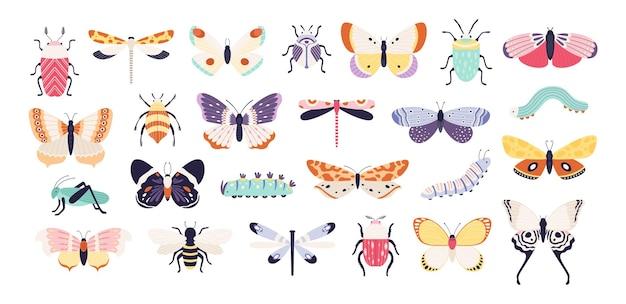 Decoratieve insecten. doodle kevers, vlinders, libellen, bij, rups en sprinkhaan. lente bug en worm, platte vector set. sprinkhaan en libel, vlinder met vleugelsillustratie