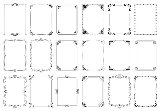 Decoratieve kaders. retro sierlijst, vintage rechthoek ornamenten en sierlijke rand set