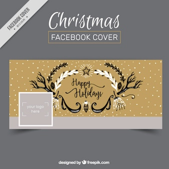 Decoratieve kerst facebook omslag in retro stijl
