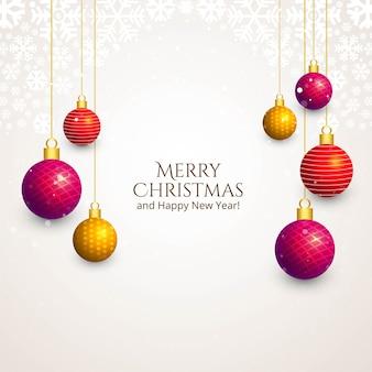 Decoratieve kerst glanzende ballen kerstkaart achtergrond