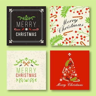 Decoratieve kerst instagram postsjabloon