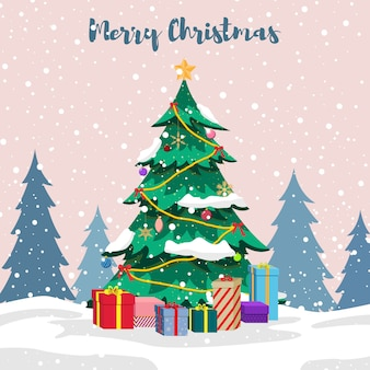 Decoratieve kerstboom en cadeautjes in de sneeuw