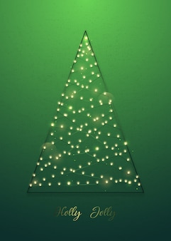 Decoratieve kerstboom gemaakt van lampjes op groene achtergrond