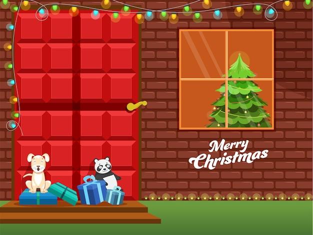 Decoratieve kerstboom in huis, cartoon hond, ijsbeer en geschenkdoos op deur voor vrolijk kerstfeest.