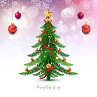 Decoratieve kerstboom kerstkaart achtergrond