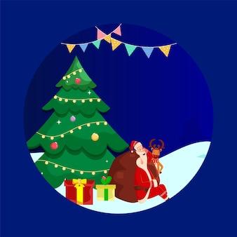 Decoratieve kerstboom met cartoon santa claus slapen