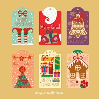 Decoratieve kerstetiketten
