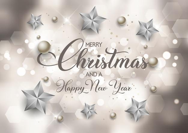 Decoratieve kerstmis en nieuwjaar achtergrond met bokeh lichten ontwerp