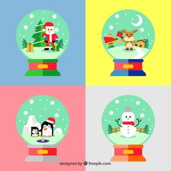 Decoratieve kerstmis snowglobes achtergrond