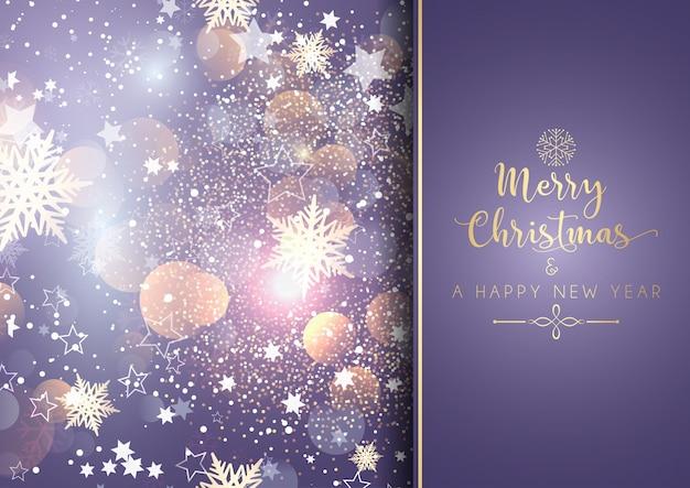 Decoratieve kerstmisachtergrond met bokehlichten
