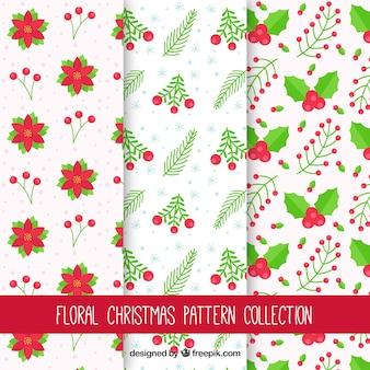 Decoratieve kerstpatronen met natuurlijke elementen