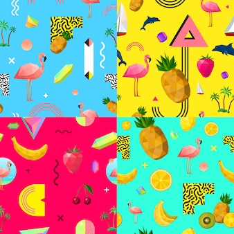 Decoratieve kleurrijke naadloze patronen instellen