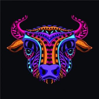 Decoratieve koeienkop van neonkleur