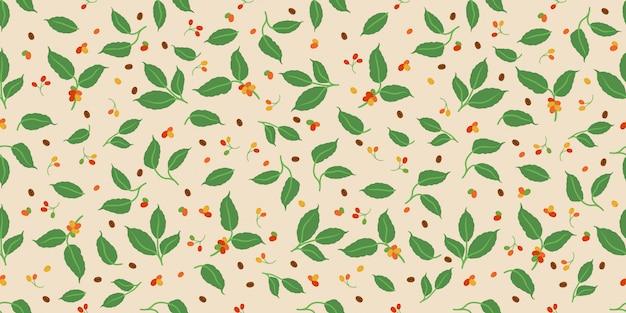 Decoratieve koffiebes en bladeren naadloos patroon