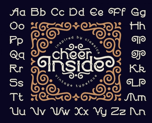 Decoratieve lettertype ingesteld met vintage ornament