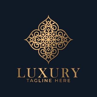 Decoratieve lineart mandala logo design premium.