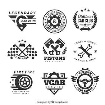 Decoratieve logo's met auto-onderdelen