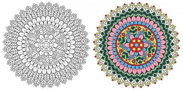 Decoratieve mandala kleurplaat