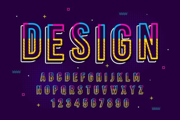 Decoratieve memphis lettertype en alfabet