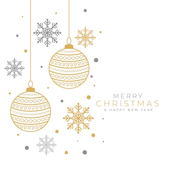 Decoratieve merry christmas achtergrond met kerstbal en sneeuwvlok