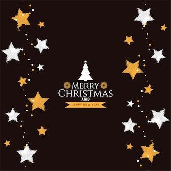 Decoratieve merry christmas festival begroeting achtergrond