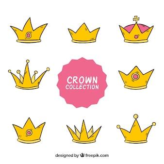 Decoratieve met de hand getekende kroon collectie