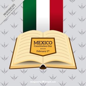 Decoratieve mexico grondwet dag achtergrond met open boek