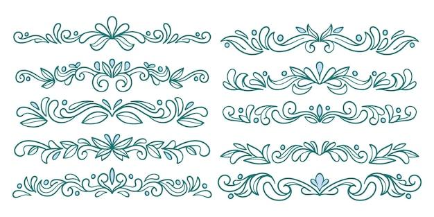 Decoratieve mooie divider blauwe set