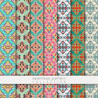 Decoratieve naadloze patroon collectie. abstracte achtergrond. oosterse ornamentele behang in verschillende kleurenpaletten.