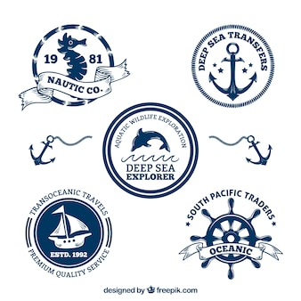 Decoratieve nautische badges pak