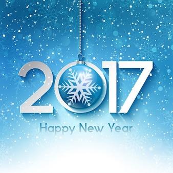 Decoratieve nieuwjaar achtergrond met sneeuwvlokken