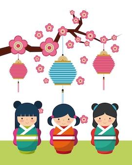 Decoratieve objecten opknoping en schattige japanse meisjes pictogram