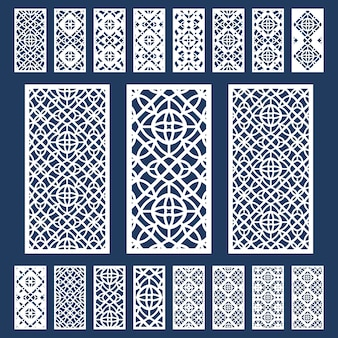 Decoratieve panelen set. silhouet geometrisch patroon. fretwork geperforeerd paneel met lasergesneden kast in arabische stijl.