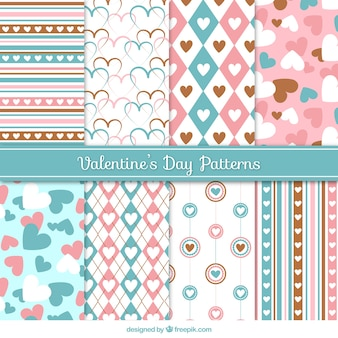Decoratieve patronen in pastel kleuren voor valentijnsdag