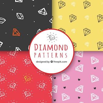 Decoratieve patronen met rechte lijn diamanten