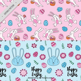 Decoratieve patronen met schattige konijnen en eieren voor pasen dag