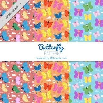Decoratieve patronen van kleurrijke vlinders