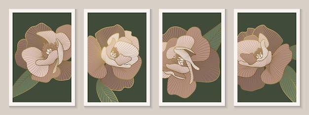 Decoratieve pioenrozen kunst aan de muur decor luxe gouden bloemen lijn kunst posters set vectorillustratie