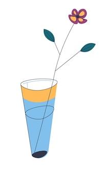 Decoratieve plant voor thuis of op kantoor interieur, geïsoleerde vaas met water en bloeiende bloem. romantisch cadeau of cadeau, verse plantkunde gebruikt als decoratie voor woonruimte. bloemist winkel vector in flat