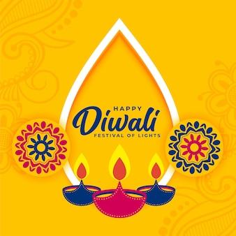 Decoratieve platte gele diwali-festivalwensenkaart
