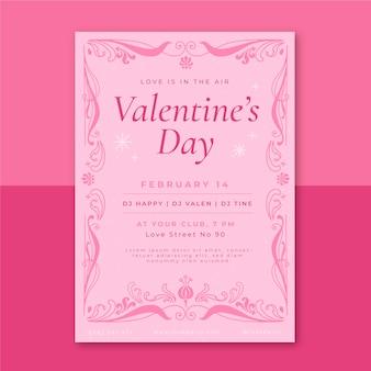 Decoratieve poster valentijnsdag sjabloon