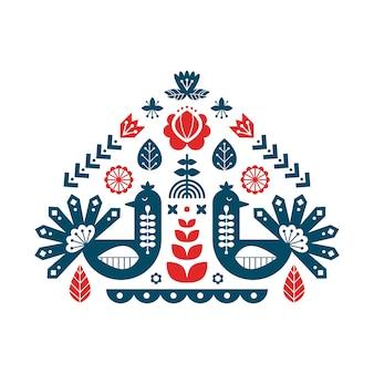 Decoratieve print met pauw en bloemenelementen.