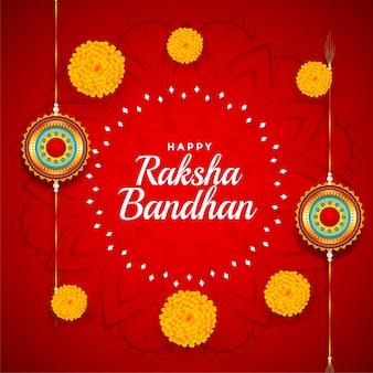 Decoratieve raksha bandhan achtergrond met goudsbloembloem