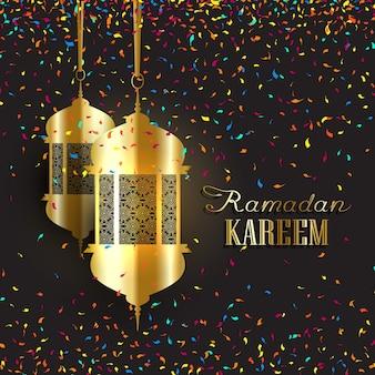 Decoratieve ramadan achtergrond met confetti